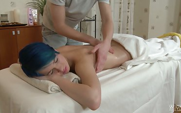Blue haired emo girl Ebba loves animal fucked by the brush private masseur