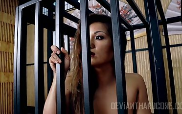Meet approval being locked in a hutch confine whore Lana Violet has to ride strong cock