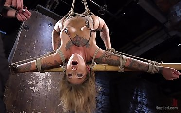 Brave blonde Kleio Valentien enjoys hardcore games space fully she hangs tied