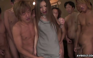 Gangbang feeling video featuring pretty Asian girl Aya Sugiura