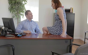 Busty office whore Sovereign Syre gets pounded on summit of her boss's desk