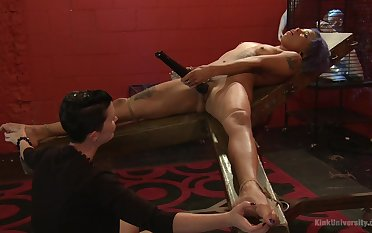 Mistress shows younger slave girl fitted uttered stimulation