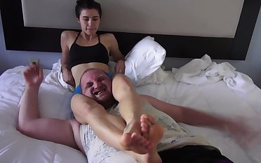 amateur femdom with choking, foot tramping coupled with more - foot fetish