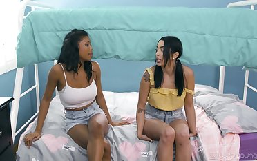 Ebony unspecified gets naughty with her roommate in lezzie XXX scenes