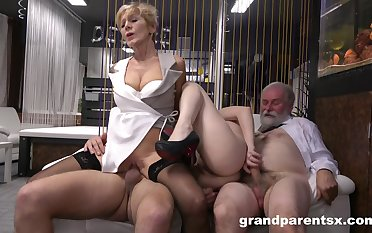 Mature added to slutty niece are interchanging dicks in insane manners