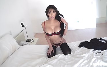 Remarkable bedroom sex in POV with a stunning wife in lingerie