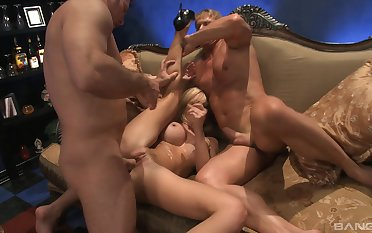 Blonde whore pumped by two men and jizzed on high her fat pair