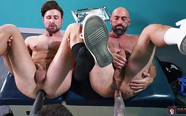 Fuck machine anal pleasures for the two naked gay lovers
