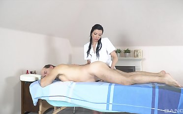 Old man receives massage and coition from horny masseuse