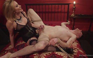 Maitresse Madeline Marlowe tortures and milks her male slave