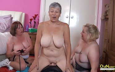 OldNannY Busty British Mature Ginger beer Masturbation