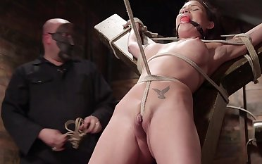 Raven Bay is capably gambol with rope and fucked with a law learn of
