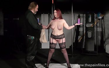 Chubby woman in stockings added to garters Kitty is punished with clothes pins