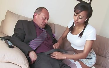 Fake boobs Alyssa Divine with pigtails fucked by a white dick