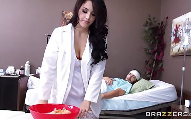 Brunette nurse Noelle Easton spreads say no to fingertips for say no to patient