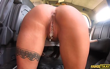 Crazy fucking in a cab with hot ass and tits pornstar Princess Jasmine