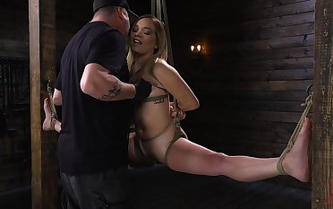 Kinky pervert is toying pussy of flexible blond babe Katie Kush