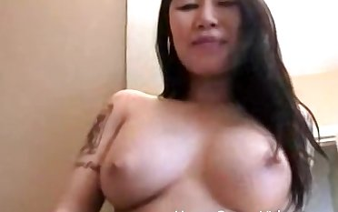 Solo Asian model plays with her perfect untalented chest and pussy