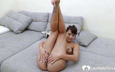Horny brunette stepsister teases with the brush naked host