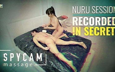 Spycam Calumniatory Erotic Asian Nuru Palpate on Tape