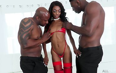 Versatile black cowgirl down sexy black booty Chanel Skye takes double BBC penetration