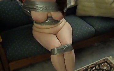 Hot girlfriend duct taped for your viewing entertainment
