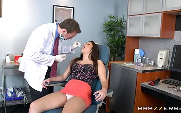 Brunette secretary Natalie Monroe sucks a dick and rides her boss