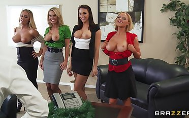 Group sex with a big dick guy with the addition of three irresistible pornstars