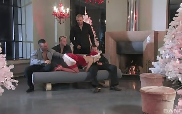 Full gang bang sex leads the hot blonde with multiple orgasms