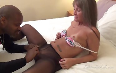 Nasty mature womanlike in stockings got fucked hard, off out of one's mind a horny, black man who loves her