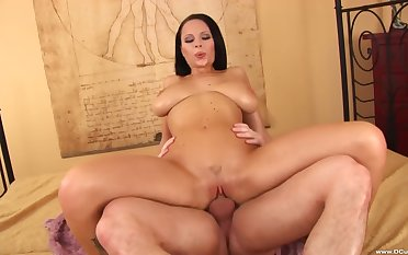 Brunette woman rides make an issue of dick like she's 18 again