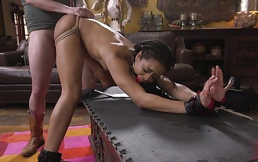 Teensy-weensy ebony Kira Noir tied up and fucked by a long white dig up