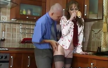 Sexy Russian Grown up Fucks Young Cadger In Kitchen