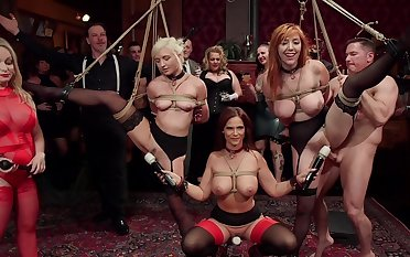 BDSM party with rich forebears and sub sluts Lauren Phillips and Eliza Jane