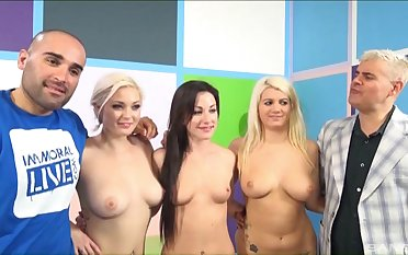 Jennifer White and her pornstar friends complement up for one dick