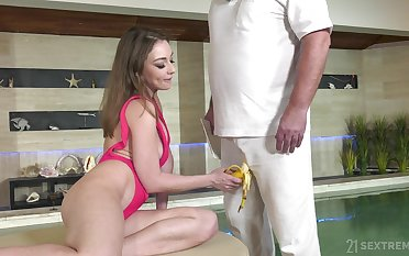 Handsome chick Emerald Ocean enjoys having sex with her older neighbor