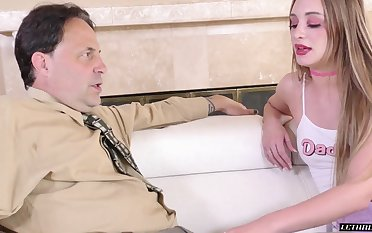 Young promiscuous woman gives her stepdad's cock one on the top of one appositeness