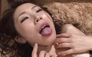 Hardcore foursome sex overhead an obstacle settee with adorable cosset Yui Ooba