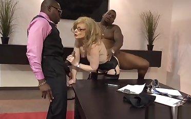 Nina Hartley legendary pornstar fucked hard by 2 blacks