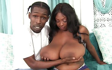 Ebony BBW Rachel Raxxx takes cumshots in excess of giant inept boobs