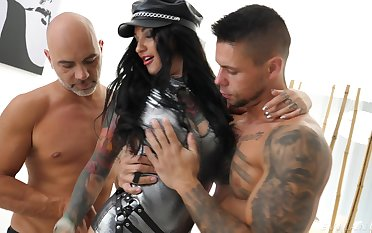 Threesome in insane hardcore scenes for Adel Asanty