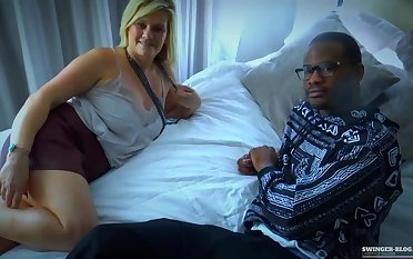Slutty, unprofessional woman is often riding her neighbors big dick while having an interracial threesome