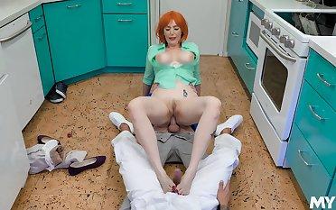 Redhead nurse ass fucked involving a crazy trio