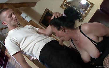 Dressed in black overstuff and fishnet overstuff of age whore Marianna is fucked