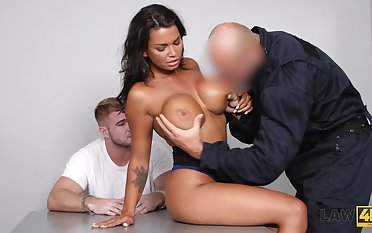 Bald brutal stud fucks the shit get off on gorgeous curvy tanned Chloe Lamour