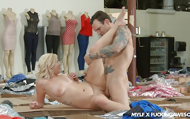 Blonde cooky with big tits, sensual sex at the shop