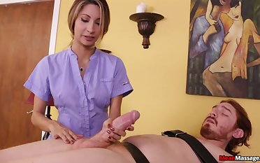 Masseuse Tunnel Jantzen takes a big dick just about will not hear of hands and goes to work