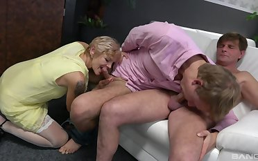 Two younger bisexual dudes fuck dirty of age pornstar Yvonne