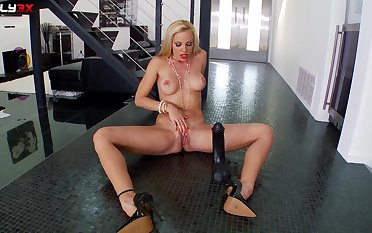 Slutty MILF works her big toy in incredible by oneself scenes