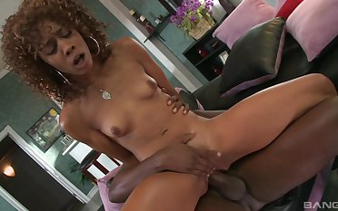 Skinny ebony wife drilled by her step lassie with a huge dong